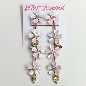 New Betsey Johnson White Iridescent Earring